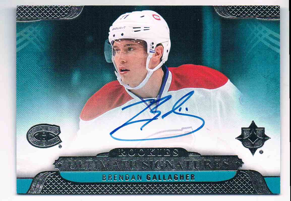 2013-14 Upper Deck Ultimate Collection Ultimate Rookie Signatures Brendan Gallagher #USR-BG card front image