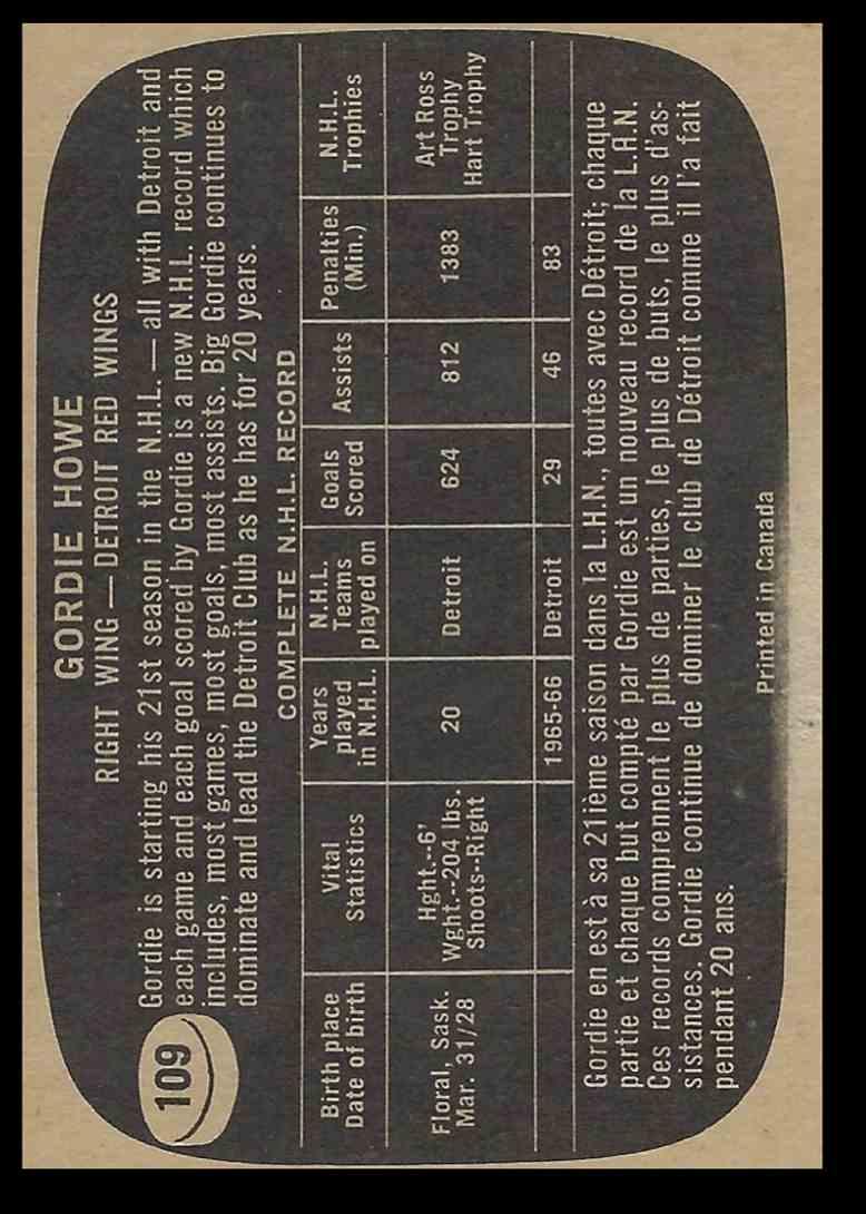 1966-67 Topps Gordie Howe #109 card back image