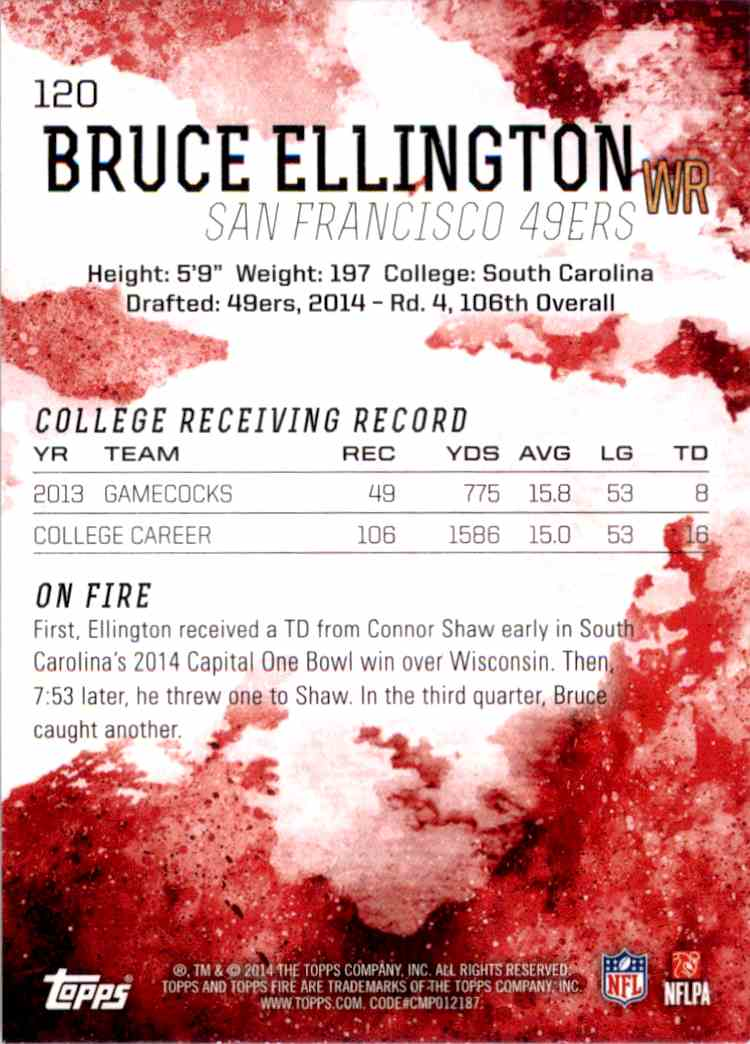 2014 Topps Fire Bruce Ellington RC #120 card back image