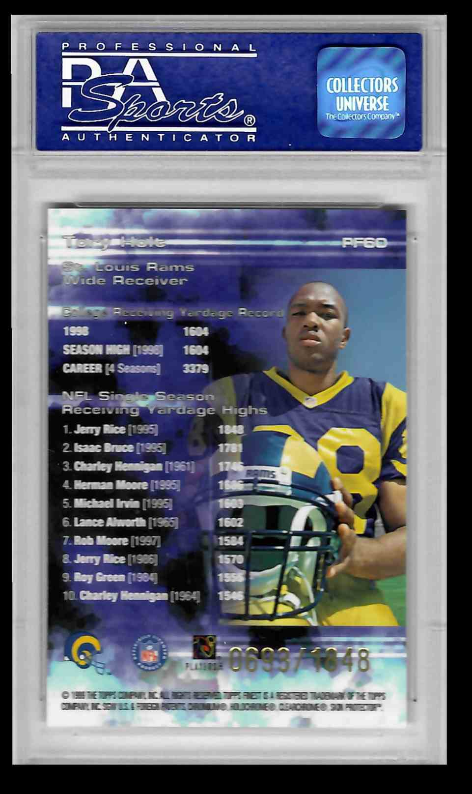 1999 Topps Finest Torry Holt #PF60 card back image