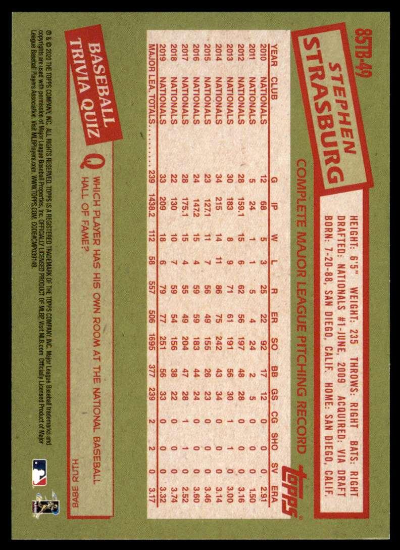 2020 Topps 1985 Topps 35th Anniversary Stephen Strasburg #85TB-49 card back image