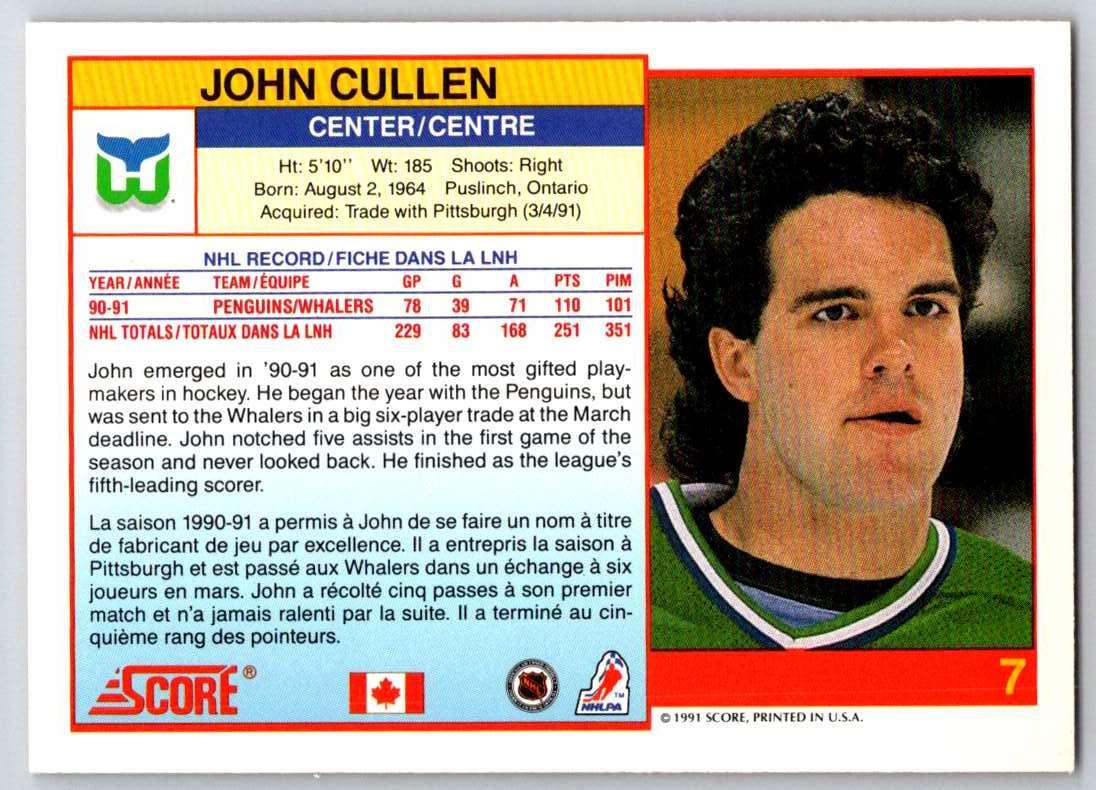 1991-92 Score Canadian Bilingual John Cullen #7 card back image