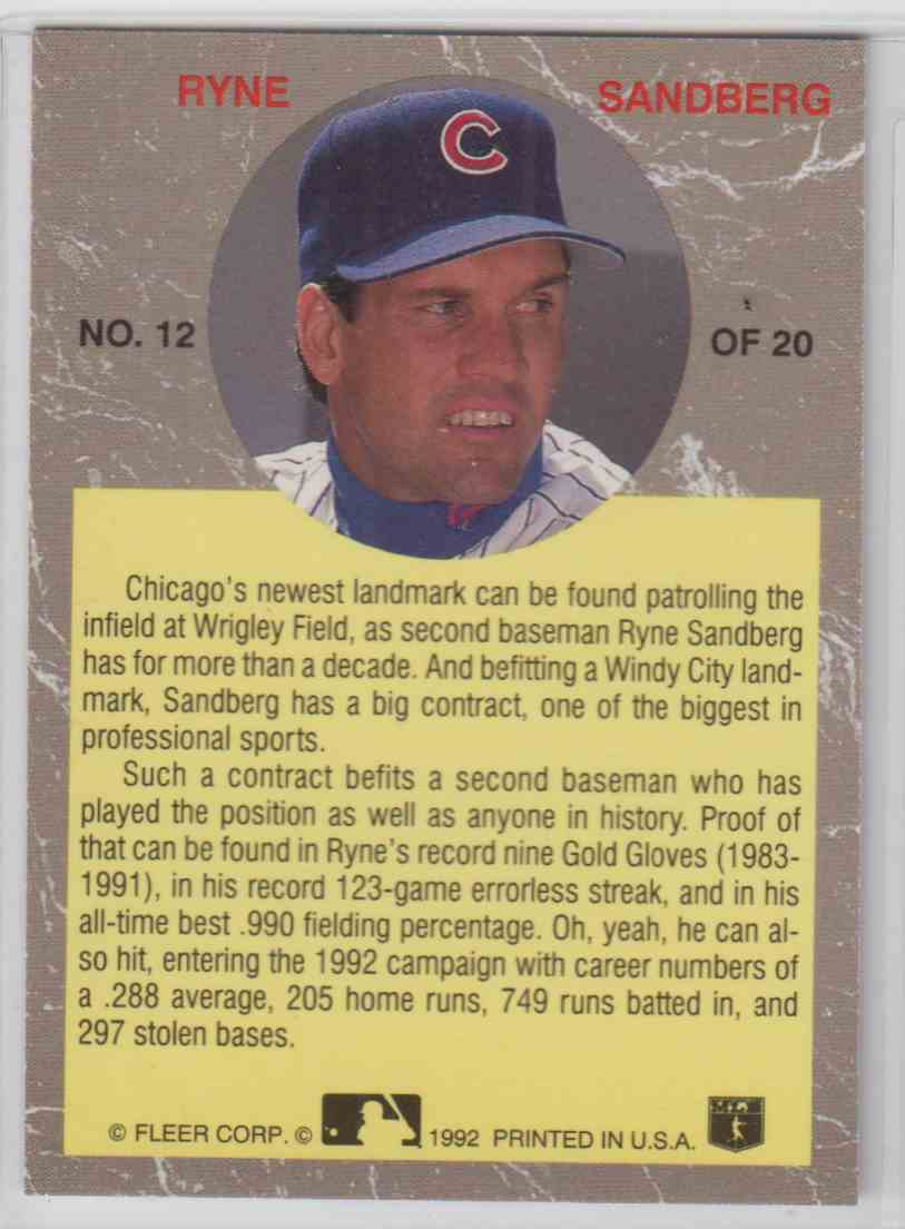 1992 Ultra All-Star Ryne Sandberg #12 card back image
