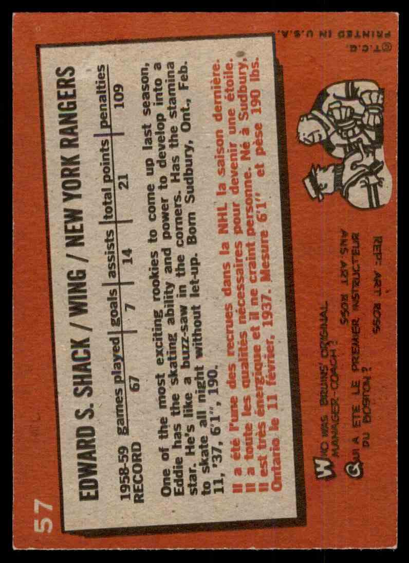 1959-60 Topps Eddie Shack #57 card back image
