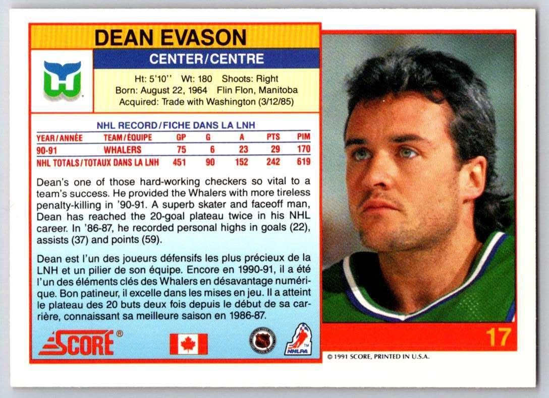 1991-92 Score Canadian Bilingual Dean Evason #17 card back image