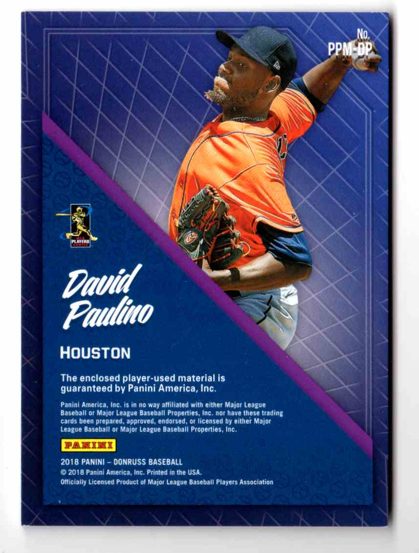2018 Donruss Promising Pros Materials David Paulino #PPM-DP card back image