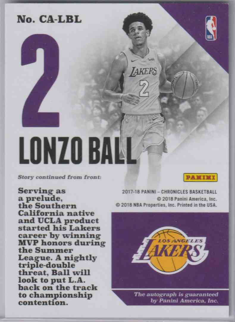 2017-18 Panini Chronicles Autographs Pink Lonzo Ball #CA-LBL card back image