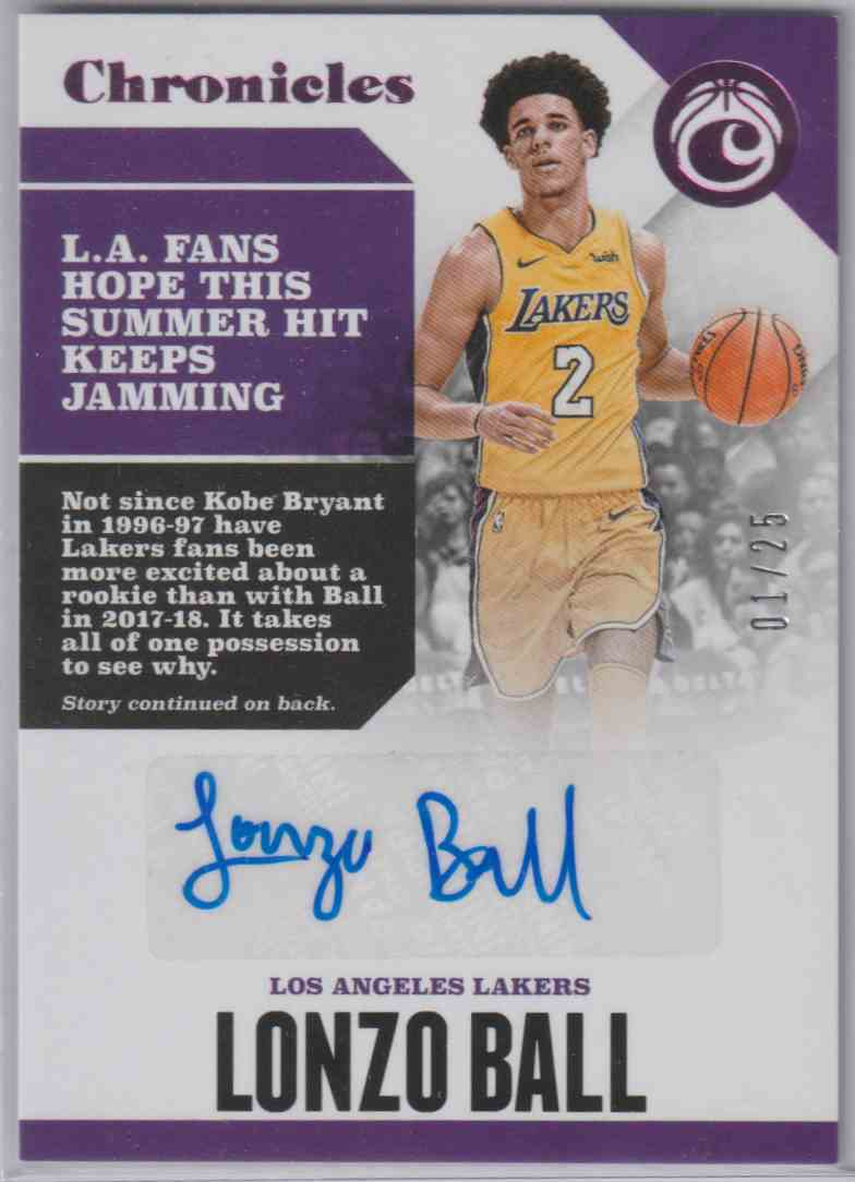 2017-18 Panini Chronicles Autographs Pink Lonzo Ball #CA-LBL card front image