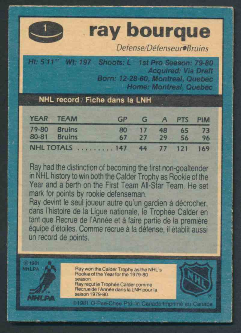 1981-82 O-Pee-Chee Ray Bourque #1 card back image