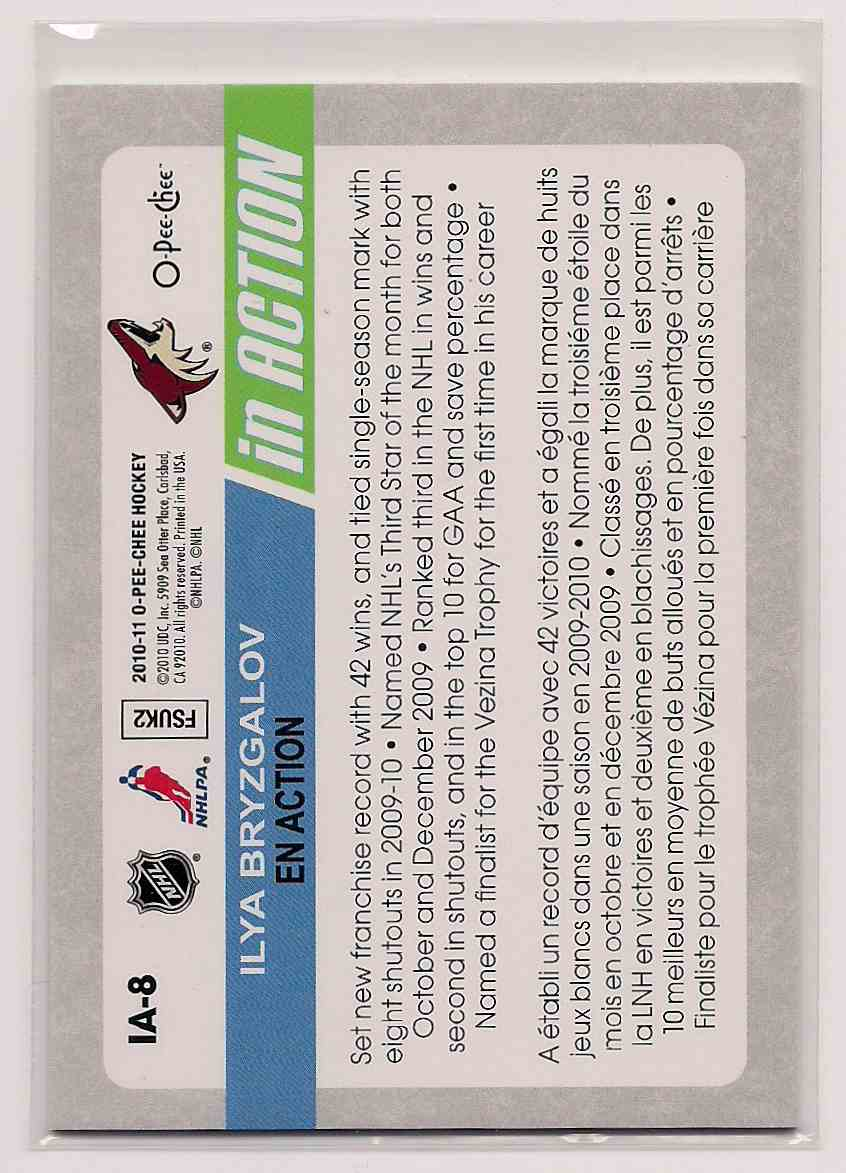 2010-11 O-Pee-Chee In Action Ilya Bryzgalov #IA-8 card back image