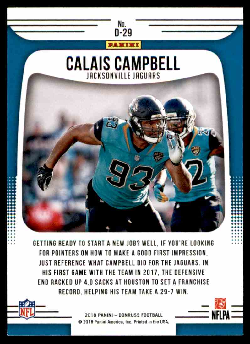 2018 Donruss Dominators Calais Campbell #D-29 card back image