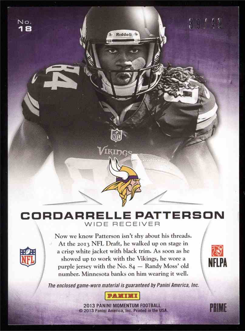 2013 Panini Momentum Rookie Initiation Materials Prime Cordarrelle Patterson #18 card back image