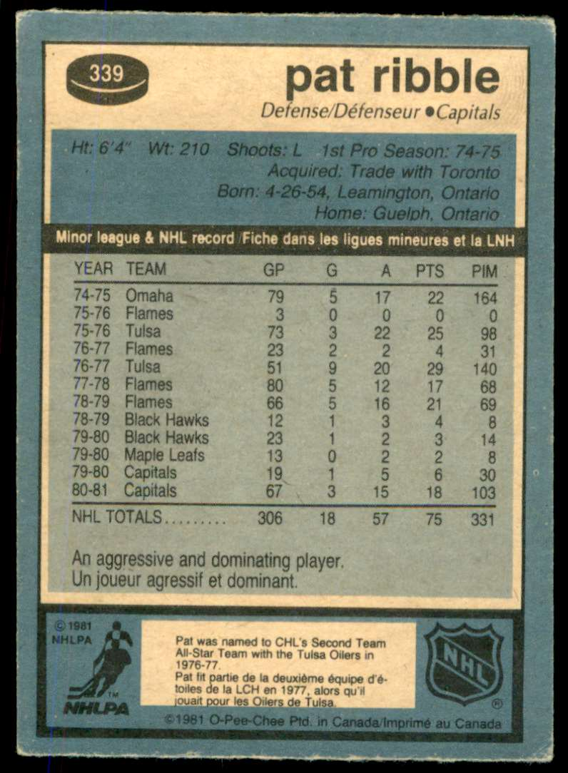 1981-82 OPC Pat Ribble #339 card back image