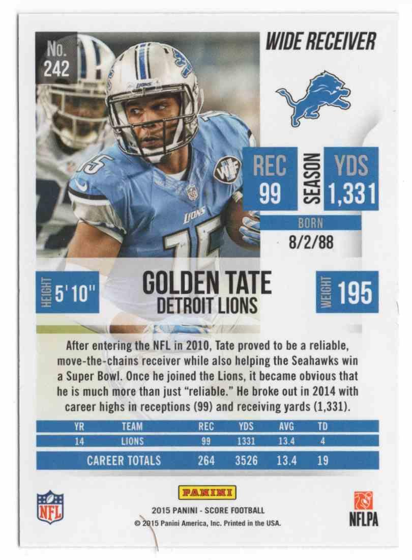 2015 Score Showcase Golden Tate #242 card back image