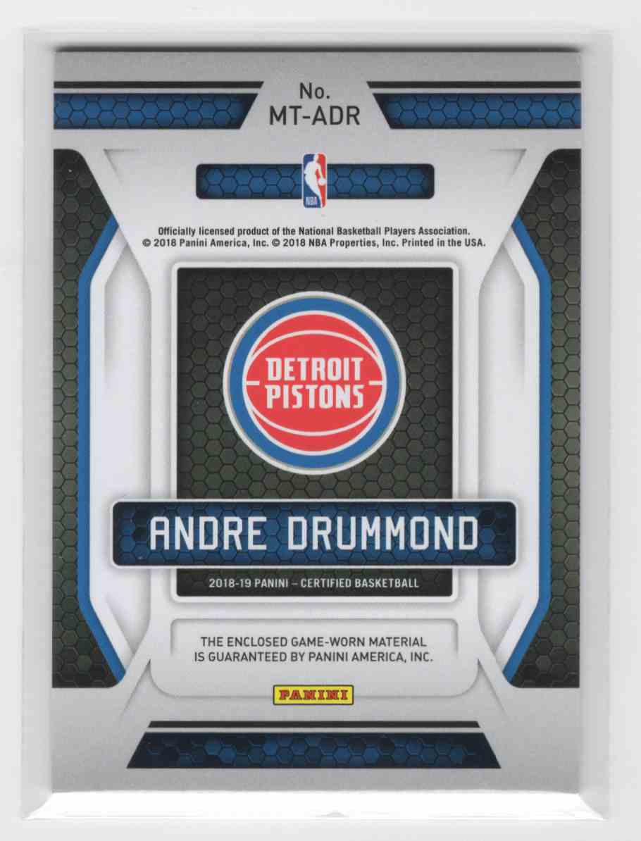 2018-19 Panini Certified Andre Drummond #MT-ADR card back image