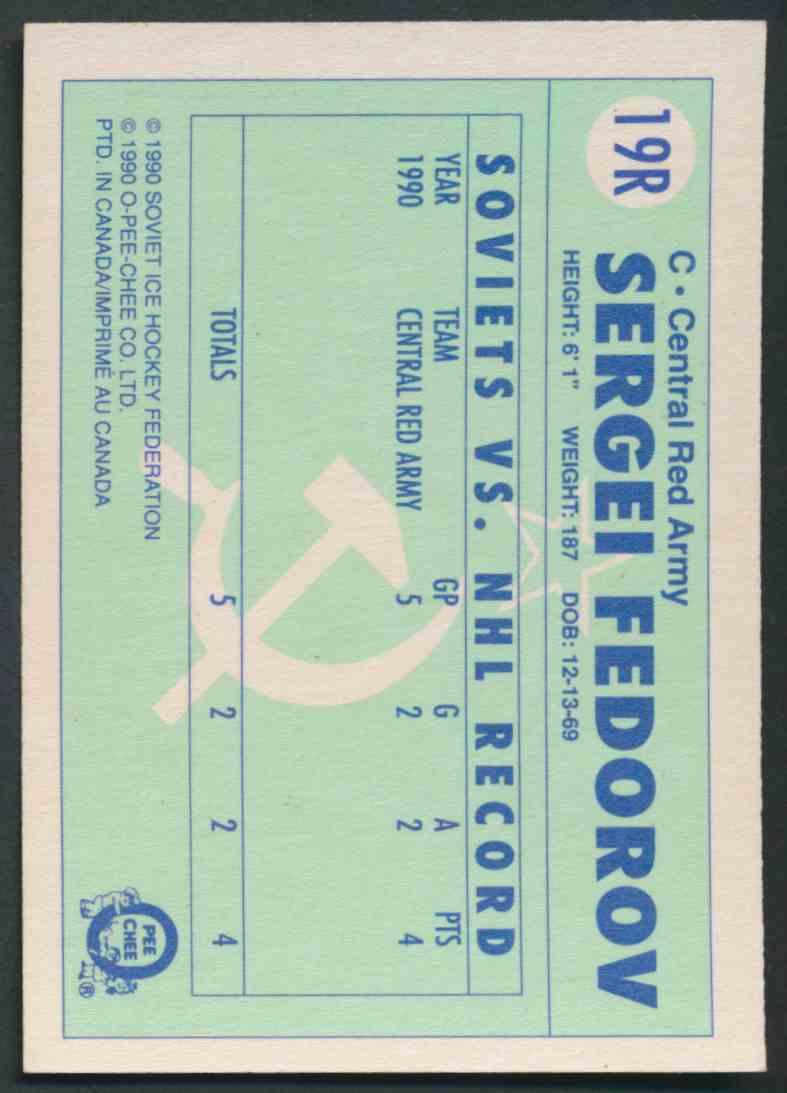 1990-91 O-Pee-Chee Sergei Fedorov #19R card back image