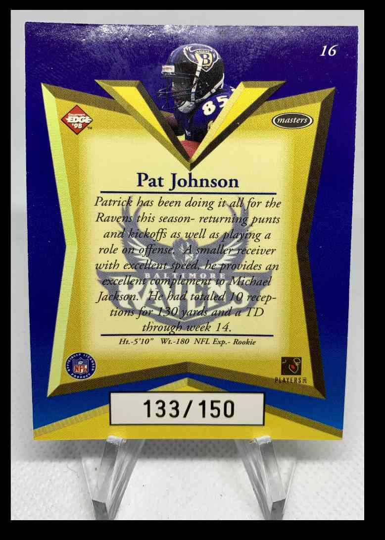 1998 Edge Advantage Pat Johnson #16 card back image