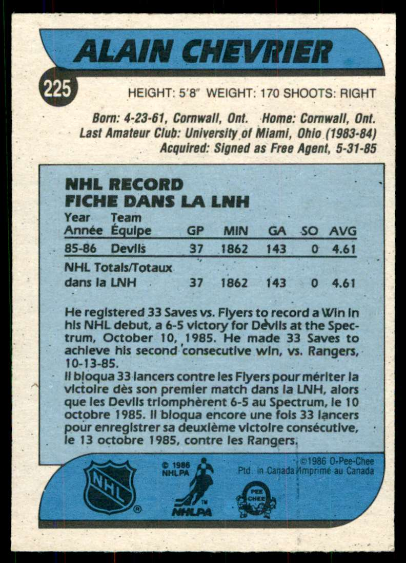 1986-87 OPC Alain Chevrier #225 card back image