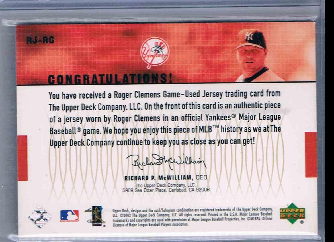 2002 Upper Deck Roger Clemens card back image