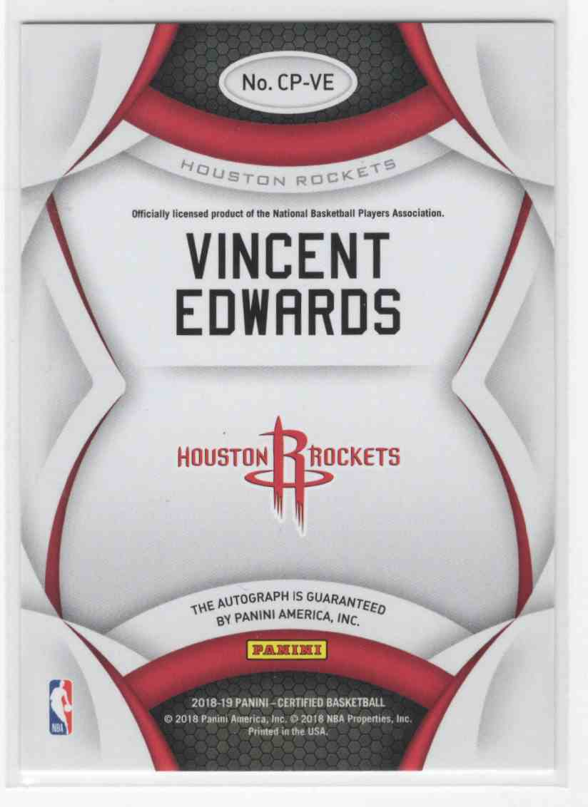2018-19 Panini Certified Vincent Edwards #CP-VE card back image