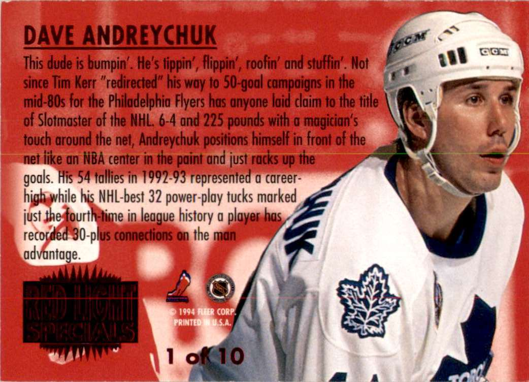 1993-94 Ultra Red Light Specials Dave Andreychuk #1 card back image