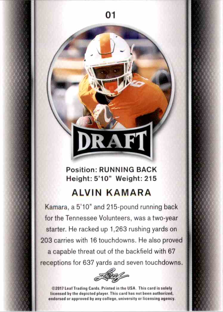 2017 Leaf Draft Alvin Kamara #1 card back image