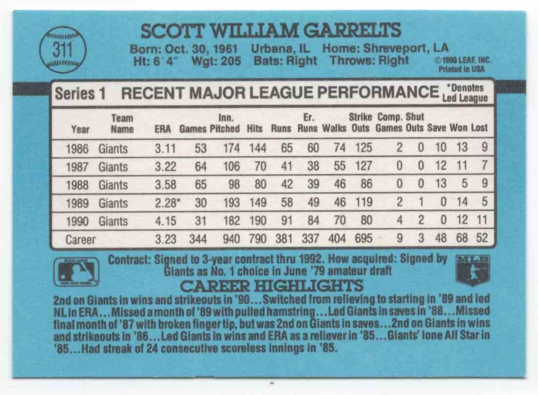 1991 Donruss Scott Garrelts #311 card back image
