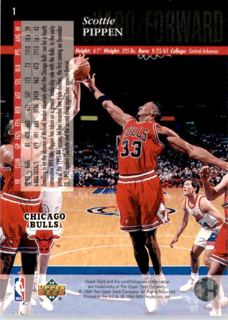 1993-94 Upper Deck Se Scottie Pippen #1 card back image