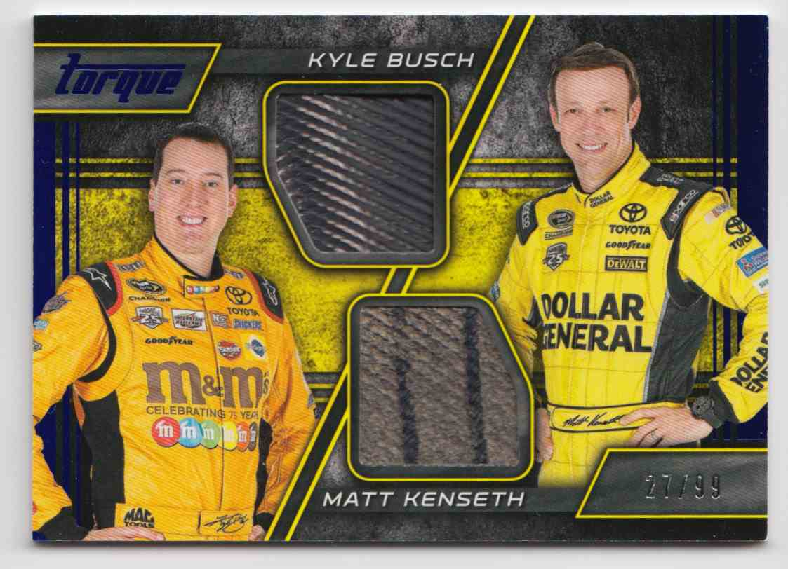 2016 Panini Torque Pairings Materials Blue Kyle Busch Matt Kenseth #PM-BK card front image
