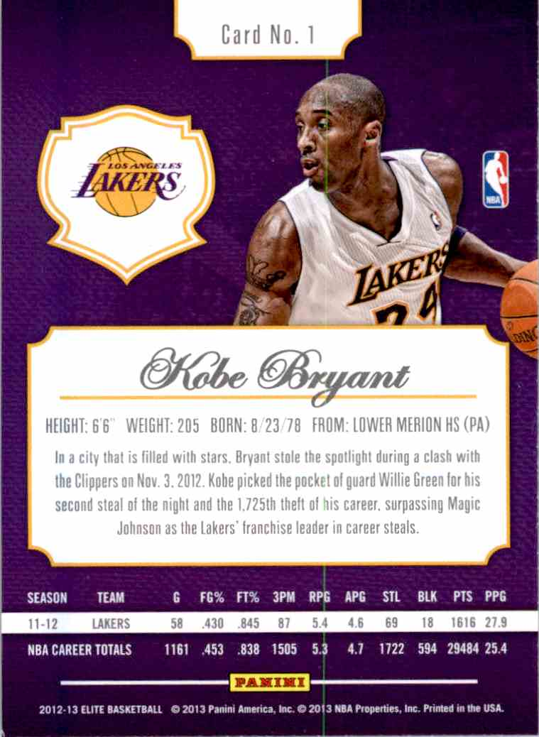 2012-13 Panini Elite Kobe Bryant #1 card back image