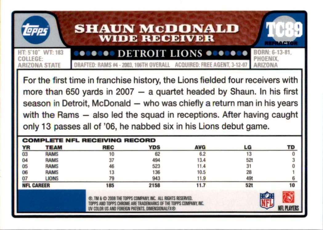 2008 Topps Chrome Refractors Shaun McDonald #TC89 card back image