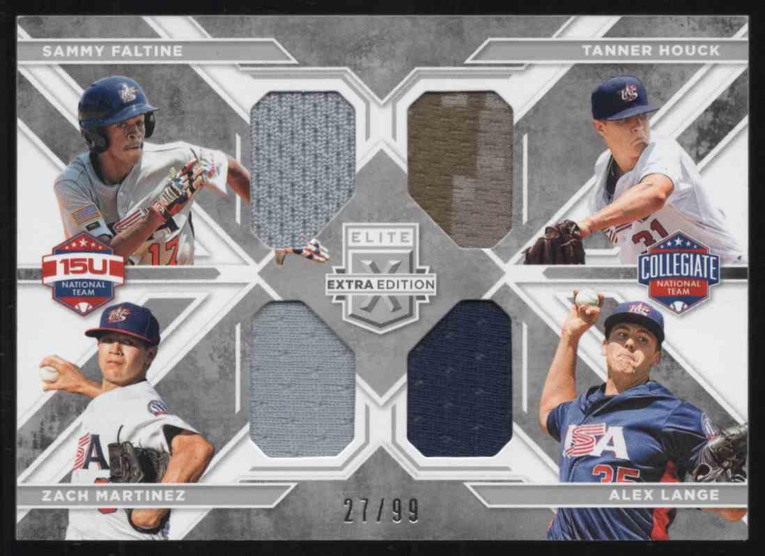 2016 Elite Extra Edition USA National Team Quad Materials Silver Sammy Faltine / Tanner Houck / Zach Martinez / Alex Lange #9 card front image
