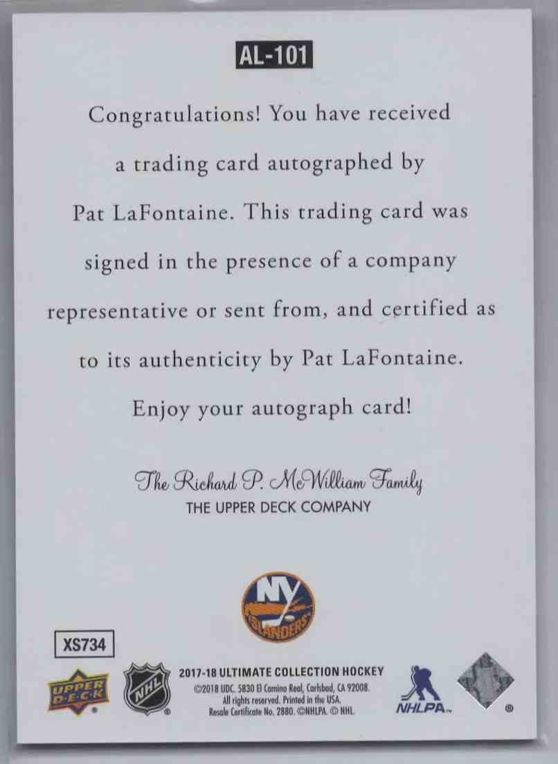 2018-19 Upper Deck Ultimate Collection Pat LaFontaine #AL-101 card back image