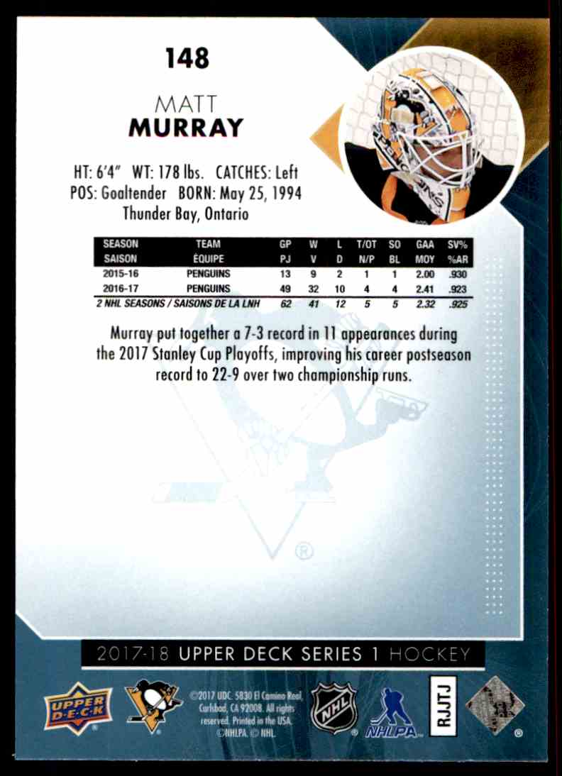 2017-18 Upper Deck Matt Murray #148 card back image