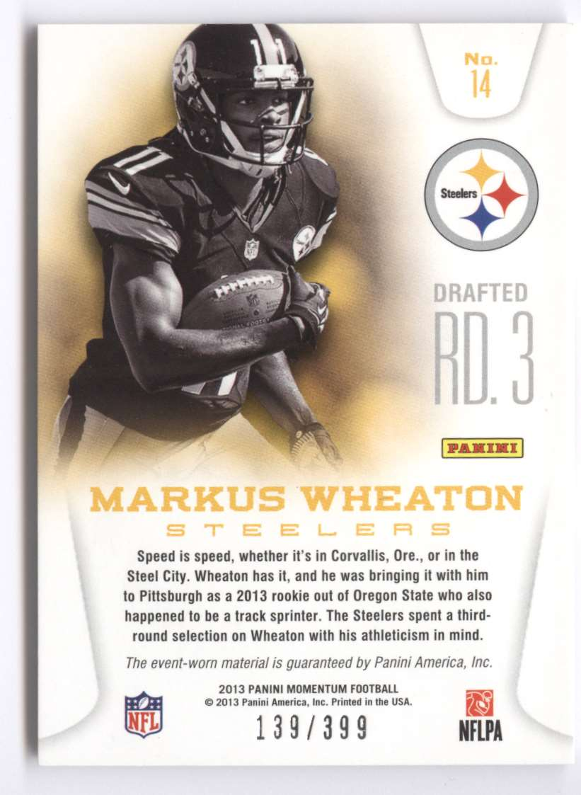 2013 Panini Momentum Rookie Team Threads Combo Materials Markus Wheaton #14 card back image
