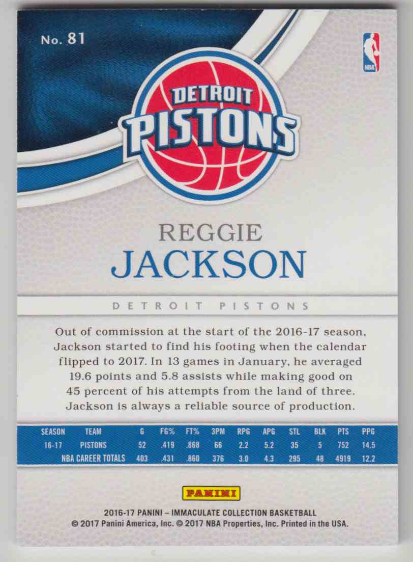 2016-17 Panini Immaculate Collection Base Red Reggie Jackson #81 card back image