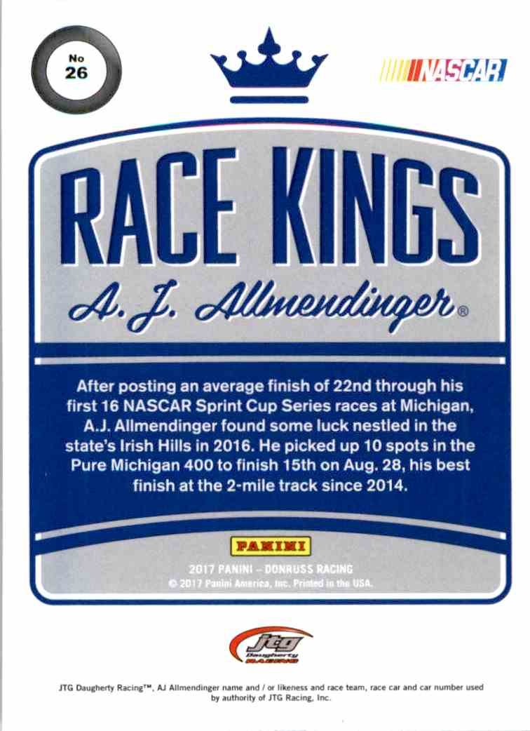 2017 Panini Donruss Racing A.J. Allmendinger #26 card back image