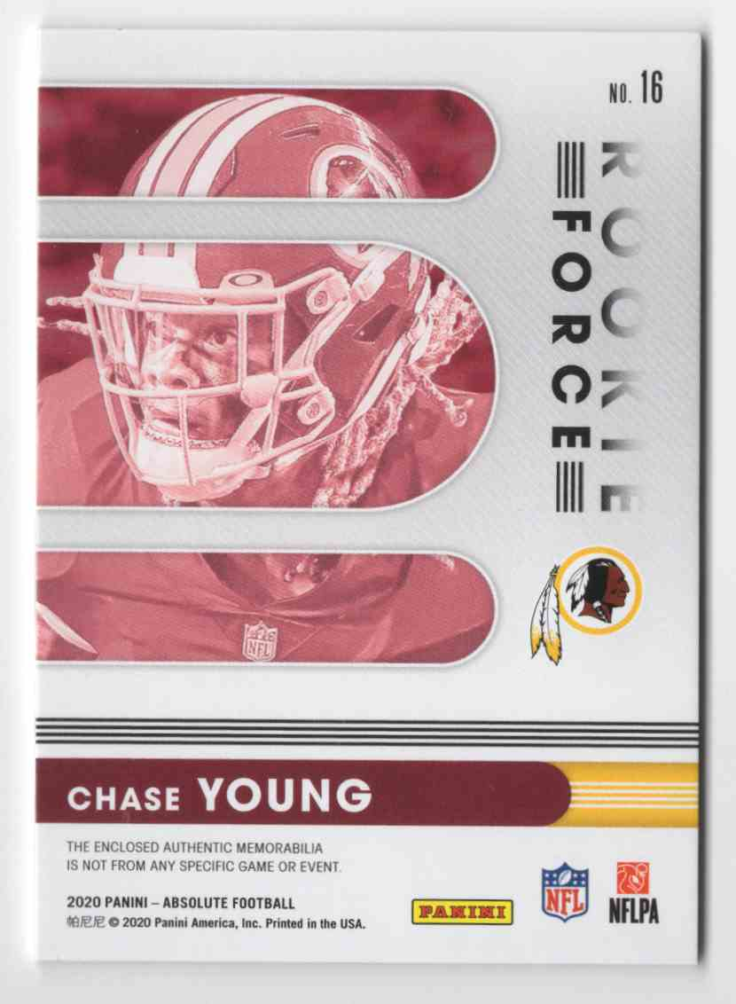 2020 Absolute Rookie Force Jerseys Chase Young #16 card back image