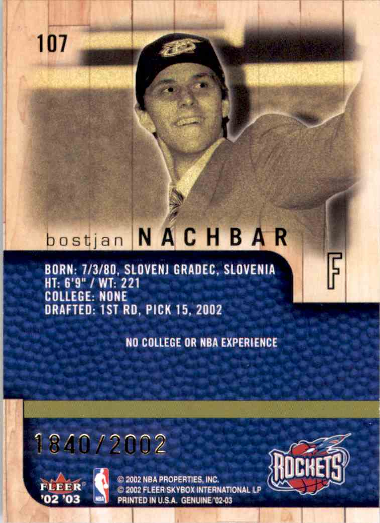 2002-03 Fleer Genuine Bostjan Nachbar RC #107 card back image