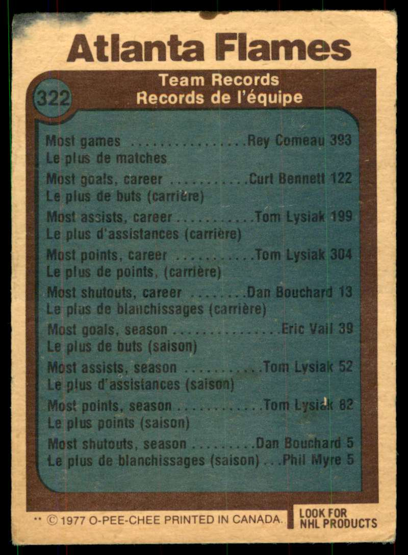 1977-78 OPC Atlanta Flames #322 card back image