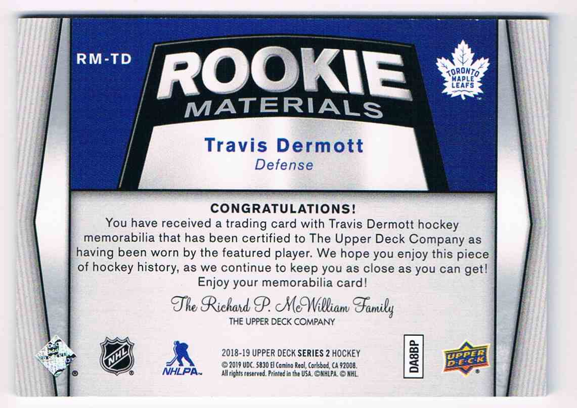 2018-19 Upper Deck Rookie Materials Travis Dermott #RM-TD card back image