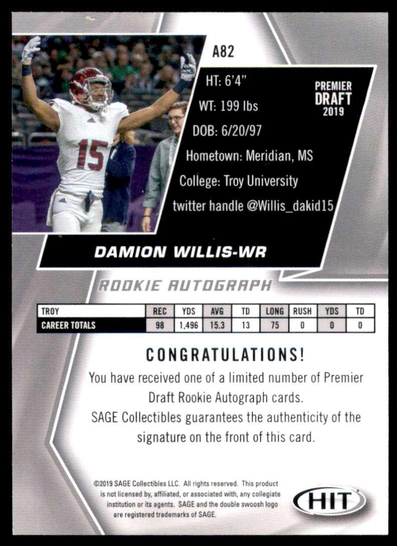 2019 Sage Hit Autographs Black Damion Willis #A82 card back image