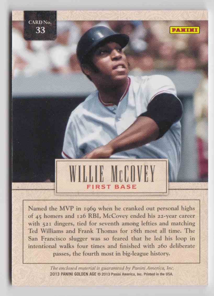 2013 Panini Golden Age Museum Age Memorabilia Willie McCovey #33 card back image