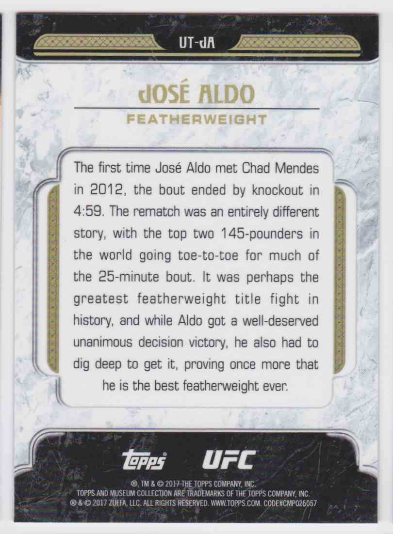 2017 Topps UFC Tier One Jose Aldo #UT-JA card back image