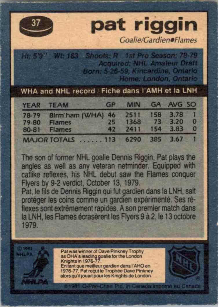 1981-82 O-Pee-Chee Pat Riggin #37 card back image