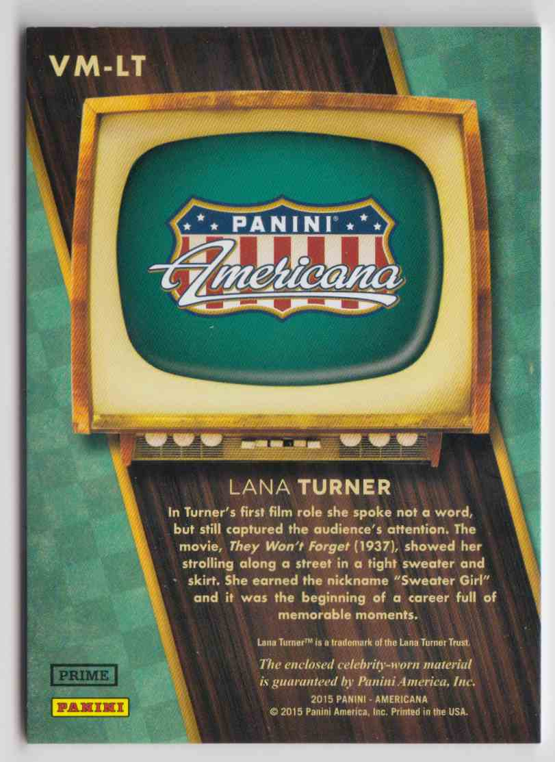 2015 Panini Americana On The Tube Vintage Materials Lana Turner #VM-LT card back image
