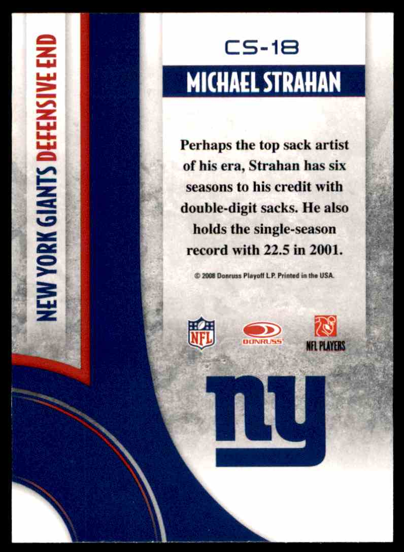 2008 Donruss Threads Century Stars Michael Strahan #CS-18 card back image