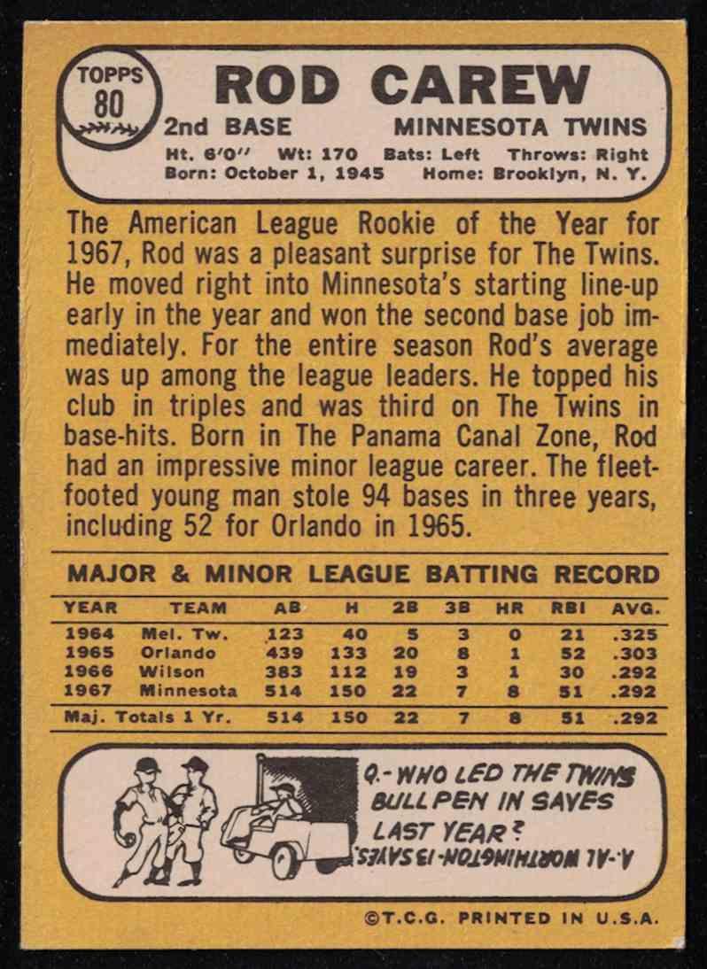 1968 Topps Rod Carew EX-MT #80 card back image