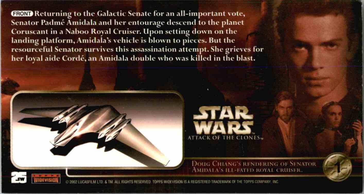 2002 Topps Star Wars Senator Amidala's Starship #1 card back image