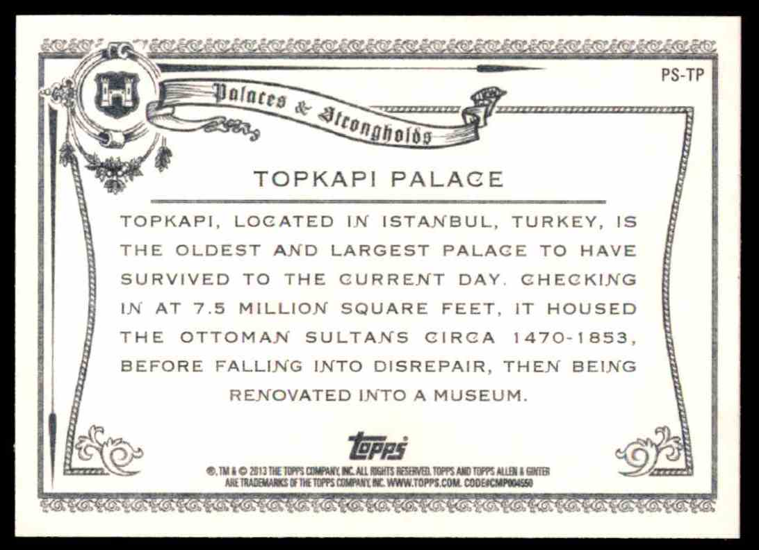 2013 Topps Allen And Ginter Palaces And Strongholds Topkapi Palace #TP card back image